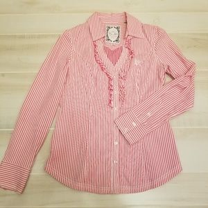 {L} Guess Jeans Red Ruffle Pin Striped Shirt